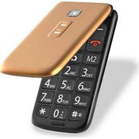 Celular Flip Vita Dual Chip Mp3 Dourado P9021 - Multilaser