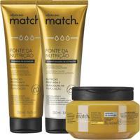 Combo Match Fonte Da Nutrição Fios Finos: Shampoo + Condicionador + Máscara Capilar