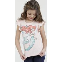 Blusa Infantil Princesa Ariel Manga Curta Disney