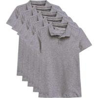 Kit De 5 Camisas Polo Femininas Cinza