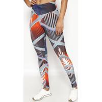 Legging Com Elã¡Stico- Cinza & Laranjaphysical Fitness