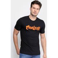 Camiseta Cavalera Básica Ninja Lettering Masculina - Masculino-Preto