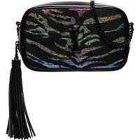 Saint Laurent Lou Glitter Tiger-Stripe Mini Bag - Preto