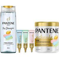 Kit Pantene Pré-Shampoo + Máscara De Tatamento + Ampolas
