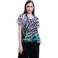 Camisa 101 Resort Wear Chifon Estampada Zebra Folhas Preto