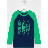 Camiseta Praia Infantil Proteção Uv Estampa De Pranchas - Tam 2 A 14 Anos