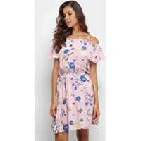Vestido Heli Curto Evasê Floral Babado - Feminino-Rosa