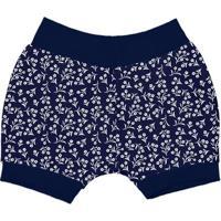 Short Com Estampa Floral- Azul Escuro & Branco- Batibatistela