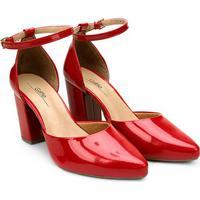 Scarpin Griffe Salto Alto Recorte - Feminino-Vermelho