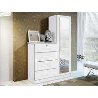 Comoda Com Espelho Belize Plus Branco Textura - Lc Móveis