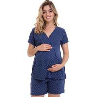 Pijama Luna Cuore Gestante Com Abertura 017 - Feminino-Marinho