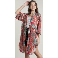Kimono Feminino Longo Estampado Paisley Com Fendas Laranja