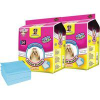 Kit Tapetes Higiênicos Para Cães Chalesco 100 Unidades 60X60Cm Azul