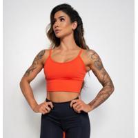 Top Fitness Poliamida Laranja Alcinha E Bojo Tp612 - Feminino