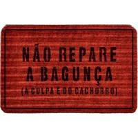 """Capacho Antiderrapante """"Não Repare A Bagunça""""- Vermelho Wevans"""