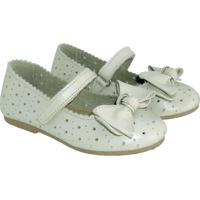 Sapato Hobby Infantil Em Couro Offwhite