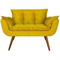 Namoradeira Poltrona Sofá Decorativa 02 Lugares Opalla Pés Palito Amarelo - Ds Móveis