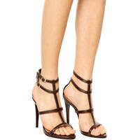 4b723f144 Sandália Dafiti Shoes Gladiadora Salto Alto Marrom