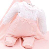 Saída De Maternidade Paraiso Tricô E Tecido Rosa Pastel