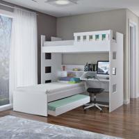 Treliche Escrivaninha C/ Grade De Proteção 100% Mdf Branco Foscarini
