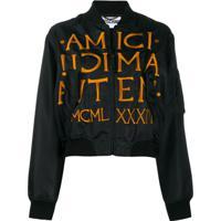 Moschino Roman Embroidery Bomber Jacket - Preto