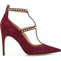 Sergio Rossi Sapato De Camurça Com Aplicações - Vermelho