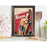 Quadro Decorativo Bebida Vintage Rum 22X32 Moldura Marrom