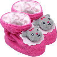 Pantufa Bebê Feminino Plush Atoalhado Pink Ursinha (Rn) - Pimpolho - Tamanho Rn - Pink