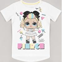 Blusa Infantil Lol Surprise Com Paetê Manga Curta Off White