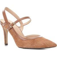 Scarpin Couro Shoestock Slingback Salto Alto - Feminino-Caramelo