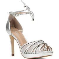Sandália Couro Shoestock Bride Salto Alto Bordada Feminina - Feminino-Prata
