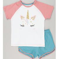 Pijama Infantil Raglan Unicórnio Com Glitter Manga Curta Off White