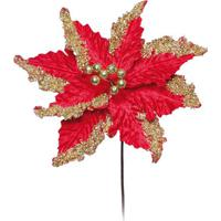 Flor Decorativa Poinsettia- Vermelha & Dourada- 40X2Cromus