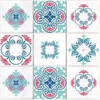 Adesivos De Azulejo Buquê 24 Unidades Grudado Adesivos