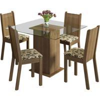 Sala De Jantar Madesa Base De Madeira Com Tampo De Vidro E 4 Cadeiras Magda - Rústico E Bege-Marrom