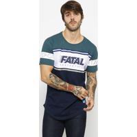 """Camiseta """"Fatalâ® Skateboard""""- Verde Escuro & Azul Escuroeixo"""