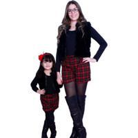 Conjunto Infantil Tal Mãe Tal Filha Liminha Doce Preto E Vermelho
