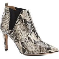 Bota Cano Curto Shoestock Salto Fino Snake Feminina - Feminino-Bege