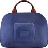 Bolsa De Viagem Dobrável - Azul Escuro & Marrom - 35Jacki Design