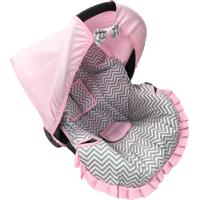 Capa Para Bebê Conforto Chevron Alan Pierre Baby 0 A 13 Kg Cinza/Rosa