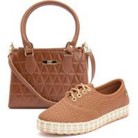 Kit Ousy Shoes Tênis Sapatênis Sola Tricê + Bolsa Baú Alça Mão Transversal Lançamento Caramelo
