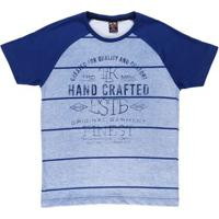 Camiseta Manga Curta Juvenil Para Menino - Azul