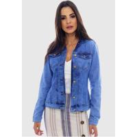 Jaqueta Jeans Sob Básica Com Elastano Feminina - Feminino-Azul