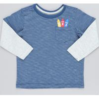 Camiseta Infantil Listrada Giz De Cera Com Bolso Manga Longa Gola Careca Azul
