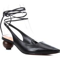 Scarpin Couro Shoestock Slingback Bico Fino Salto Baixo Redondo Feminino - Feminino-Preto