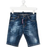 Dsquared2 Kids Bermuda Jeans Destroyed - Azul