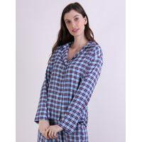 Camisa De Pijama Feminina Mindset Estampada Xadrez Manga Longa Azul