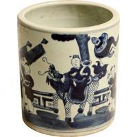 Vaso Decorativo De Porcelana Azul E Branco Saavedra