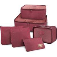 Kit Organizador De Malas Jacki Design De 6 Peças Feminino - Feminino-Vermelho Escuro