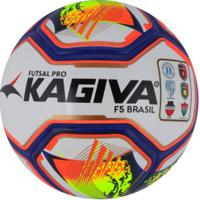 Bola De Futsal Kagiva Pro F5 Brasil 2019 - Branco/Amarelo Claro